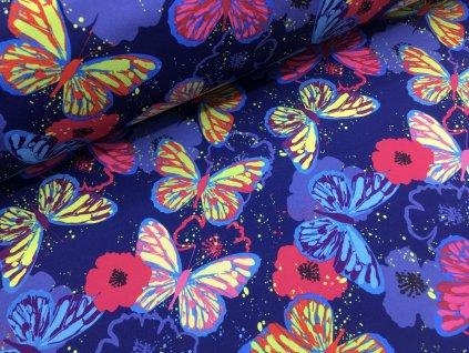 Zimní softshell - motýlci - tmavě modrá - doprodej 89cm
