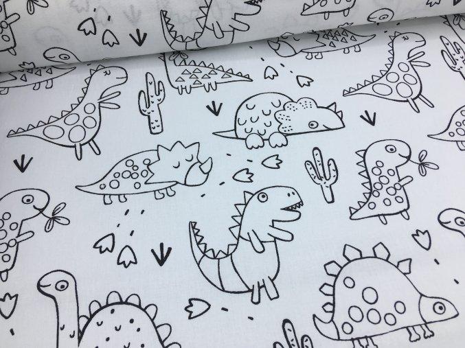 Bavlna - dinosauři - vymalovávací
