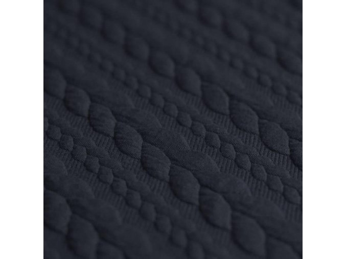 Cable Knit Jacquard Fabric Navy 800x800