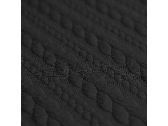 Cable Knit Jacquard Fabric Black 800x800