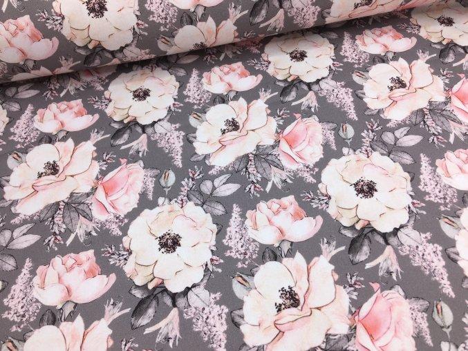 Bavlna - růže na šedé