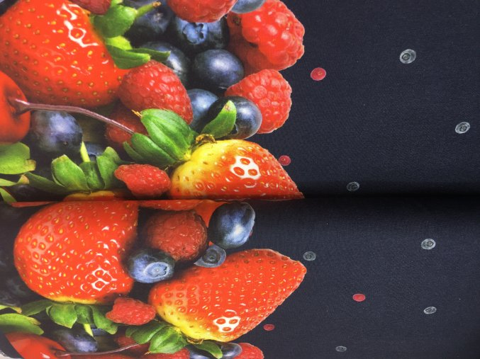 Úplet - bordura ovoce - tmavě modrá