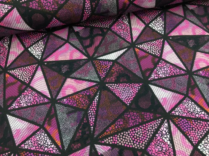 Úplet - mozaika trojuhelníky - fialová