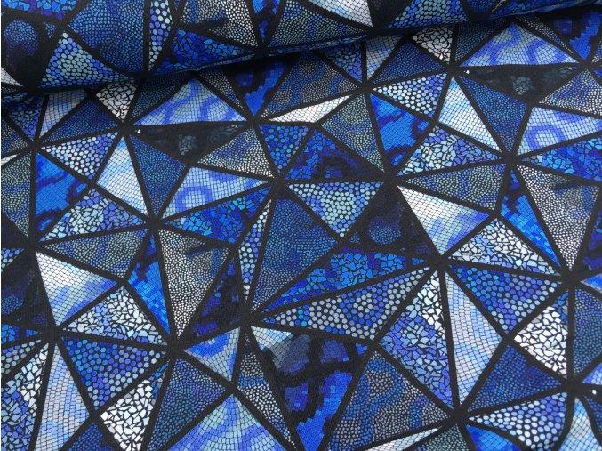 Úplet - mozaika trojuhelníky - modrá