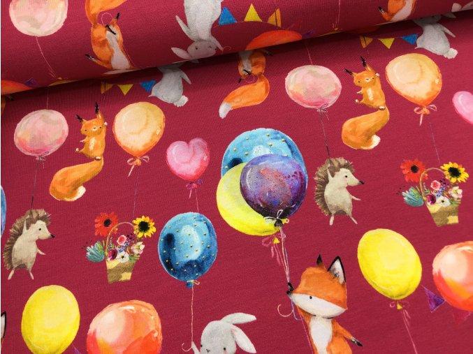 Úplet - zvířátka s balonky - fuchsie