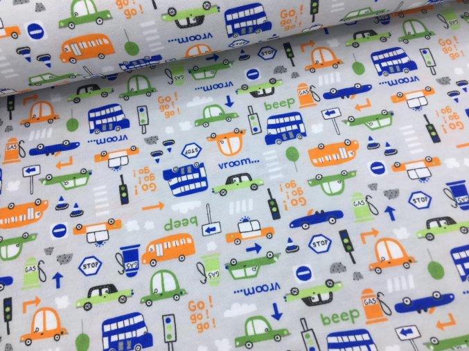 Bavlněný úplet (100% bavlna) - auta na šedé