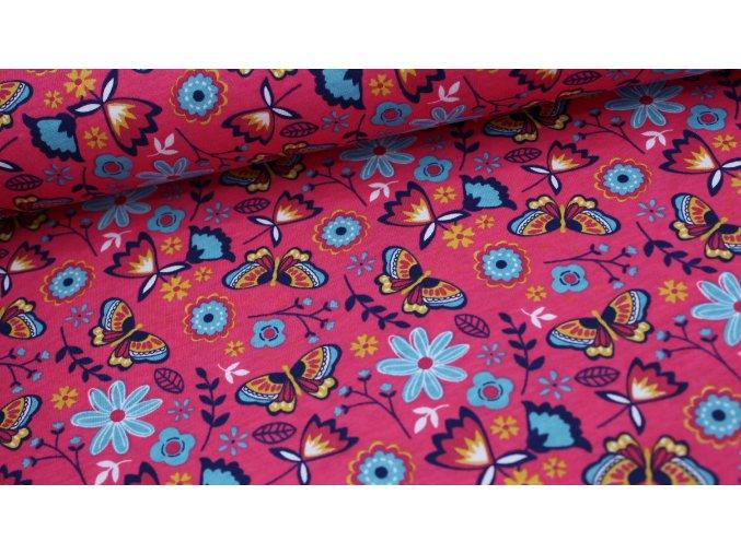 Bavlněný úplet (100% bavlna) - motýlci - barva amarant