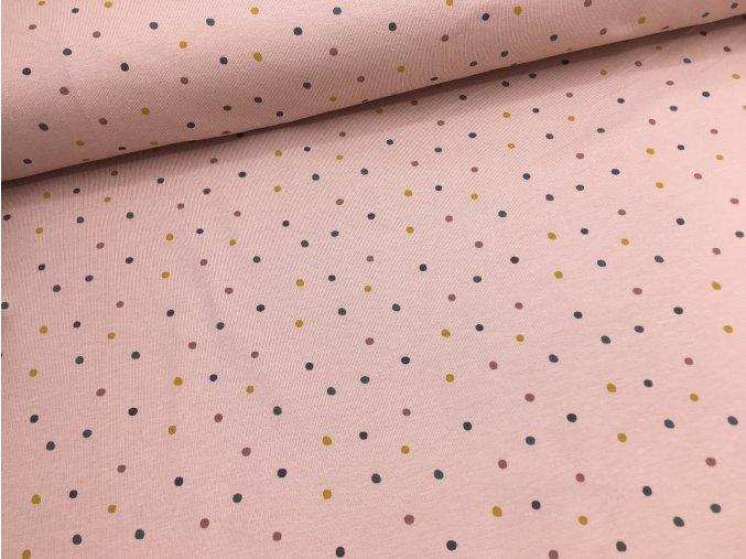 Úplet - pastelové puntíky - starorůžová