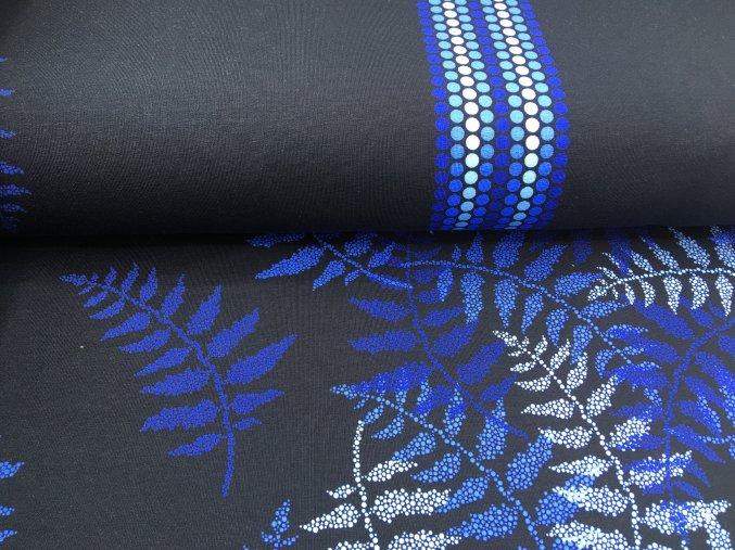 Teplákovina - kapradina - modrá na černé