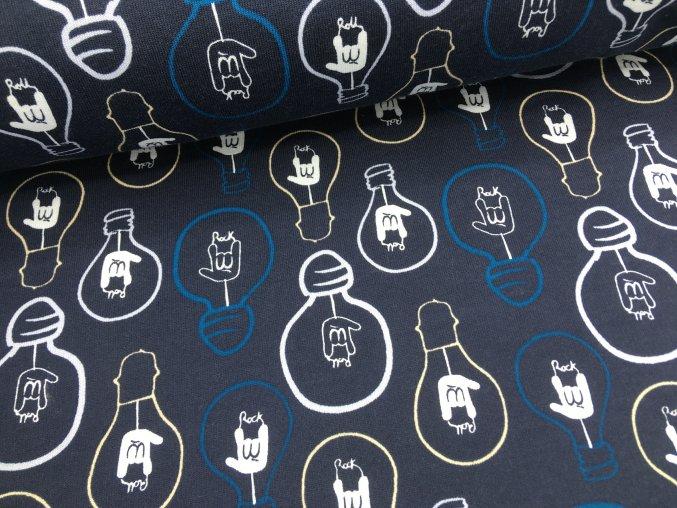 Teplákovina - žárovky tmavě modrá - počesaná (2.jakost)