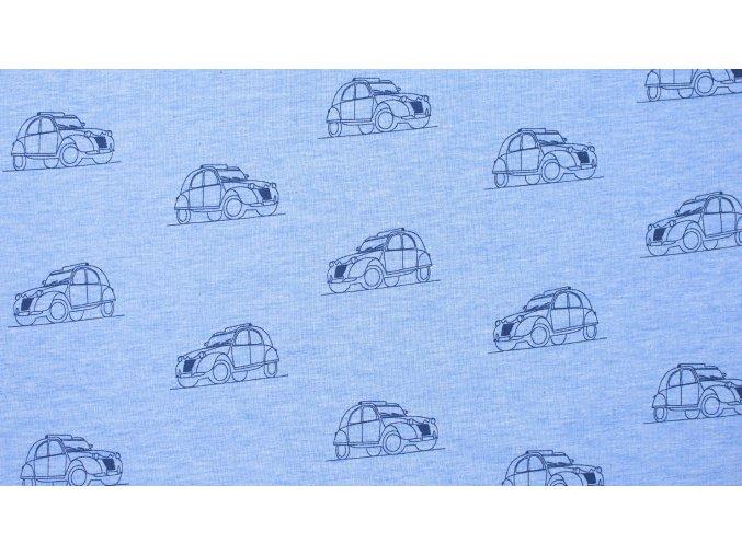Teplákovina - auta na svetlě modrém melíru - nepočesaná