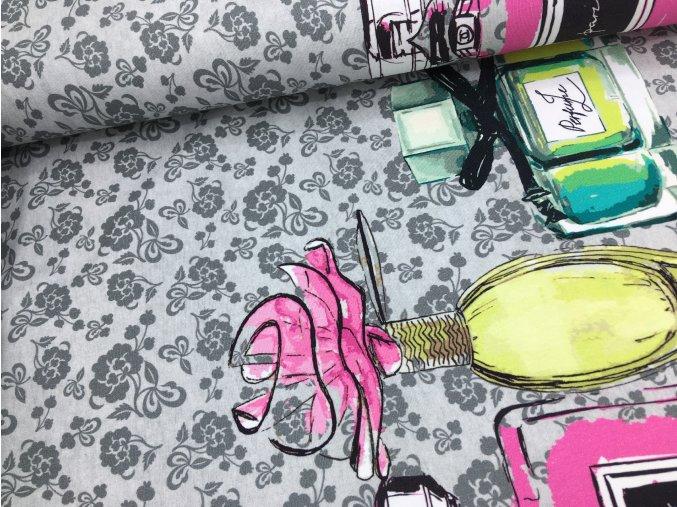 Úplet - bordura parfémy - šedá