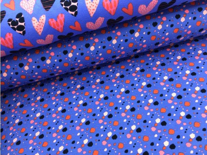 Teplákovina - puntíky - fialová