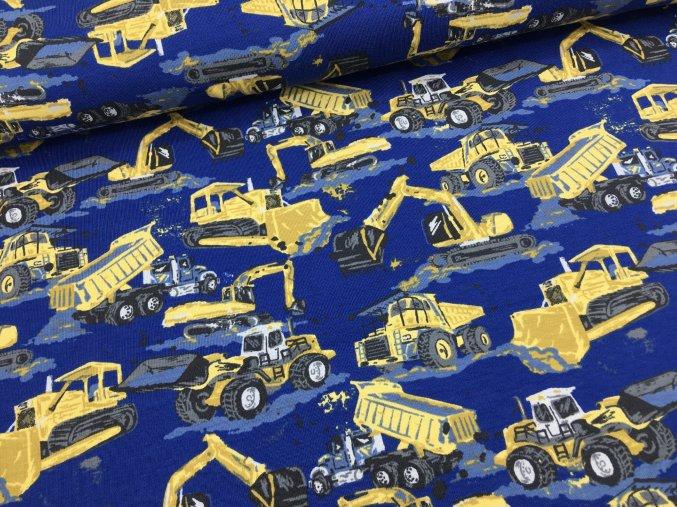 Úplet - dopravní stroje (bagry) - modrá