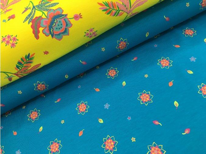 Úplet - barevné kytičky - modrá
