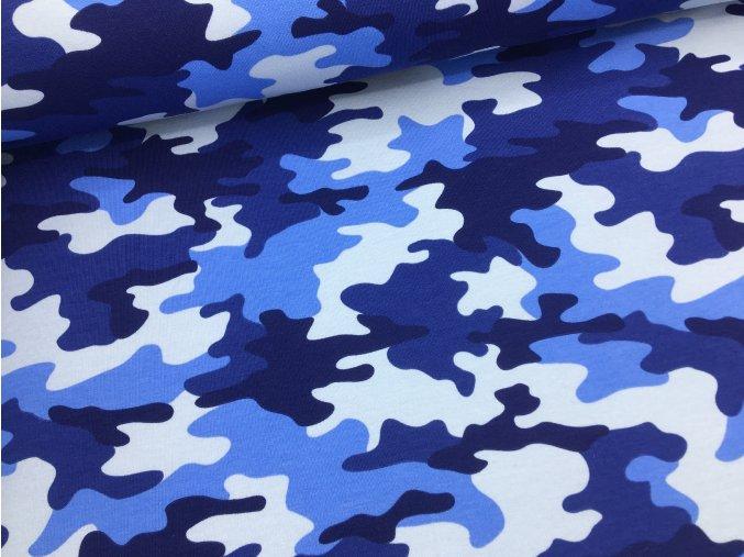 Teplákovina - modrý maskáč - počesaná - doprodej 48cm