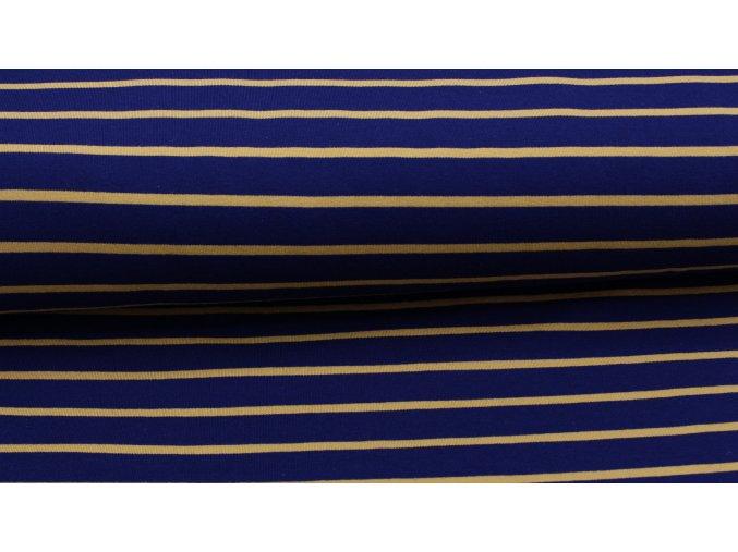Teplákovina - okrový pruh na námořní modré - nepočesaná