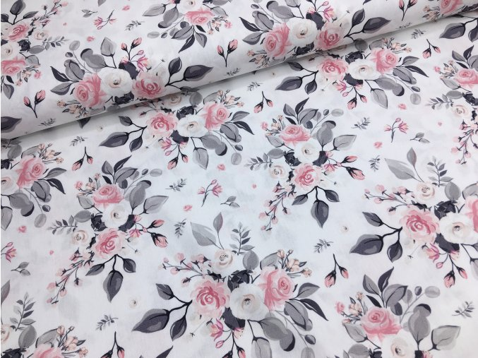 Bavlna - růžičky větší - bílá