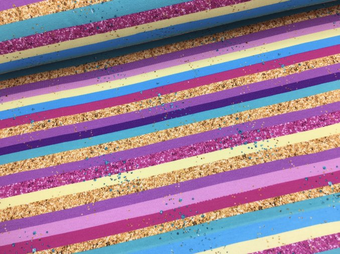 Teplákovina - barevné proužky - doprodej 122cm