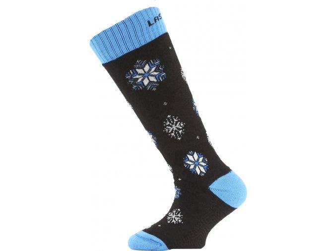 Dětské ponožky - lyžařské - SJA černé s modrým lemem
