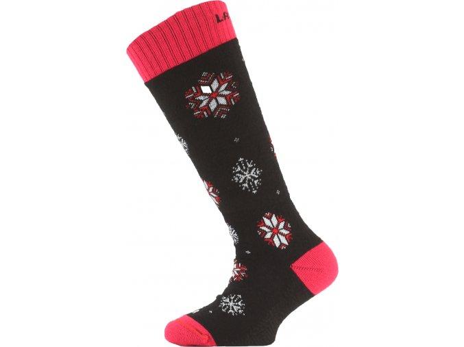Dětské ponožky - lyžařské - SJA černé s růžovým lemem