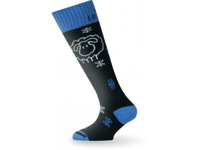 Dětské ponožky - lyžařské - SJA černé s ovečkou (modrý lem)