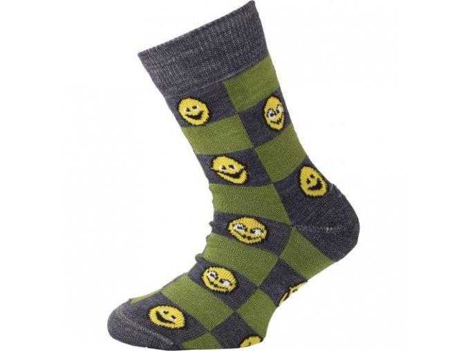 Dětské ponožky - trekingové - smajlíci zelená