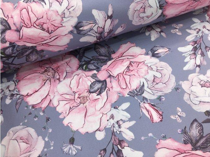 Zimní softshell - rozkvetlé růže - šedá