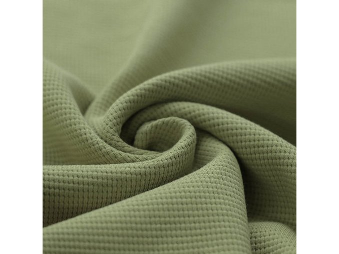 Waffelstrick Jersey Stoff Olive 1100x1100