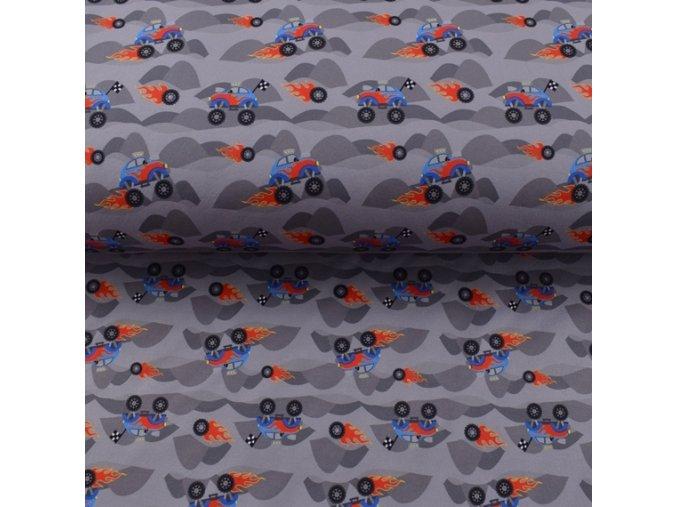 Zimní sofshell - terénní auta - šedá