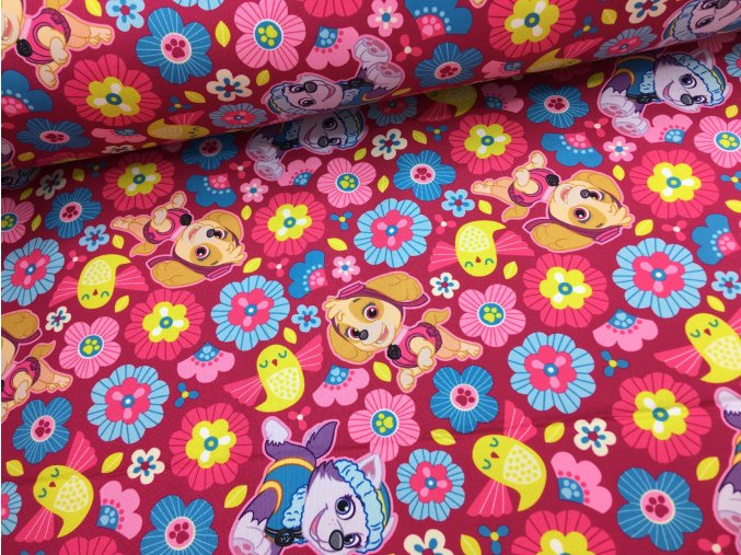 Zimní softshell - tlapková patrola - růžové kytičky - doprodej 52cm