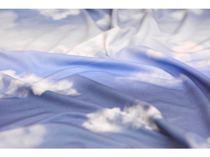 Teplákovina s modalem - mraky - modrá