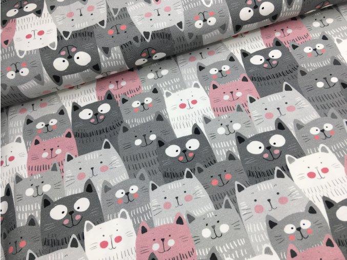 Úplet - kočičky - šedo/růžová