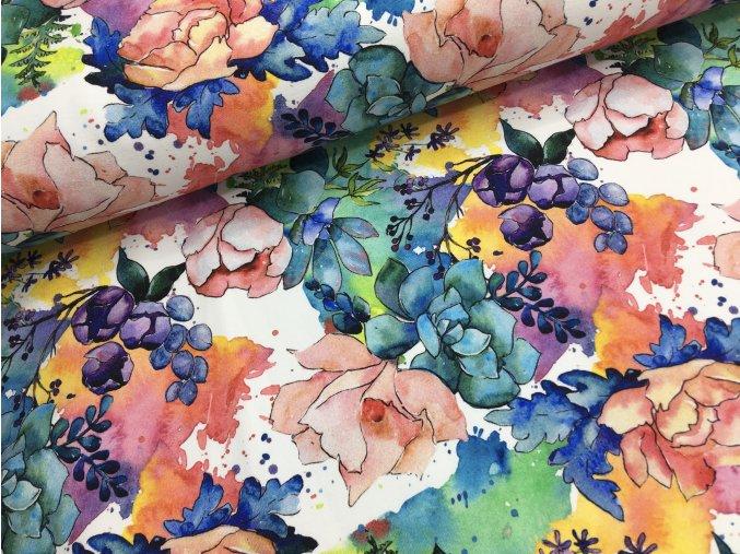 Teplákovina - malované květy