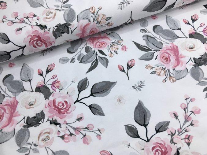 Úplet - velké růže - bílá
