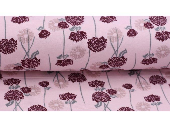 Bio teplákovina - kytičky na růžové - počesaná