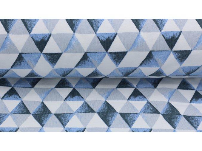 Bio teplákovina - trojúhelníky modré - počesaná