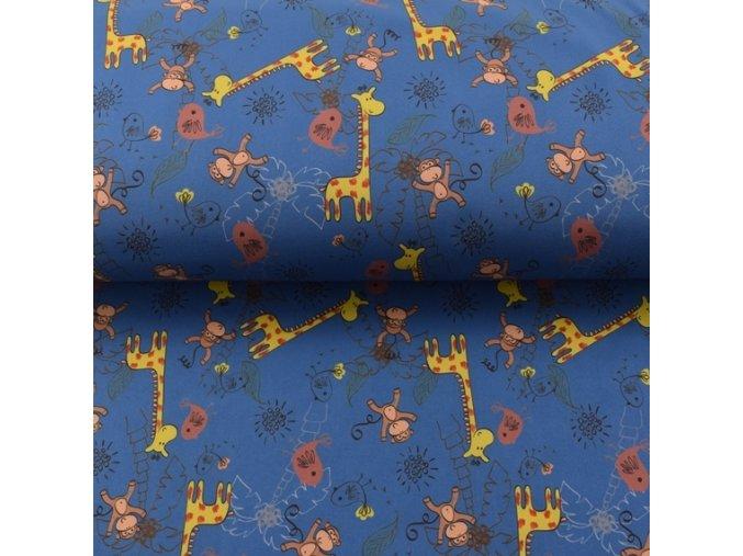Zimní sofshell - žirafy a opice - modrá