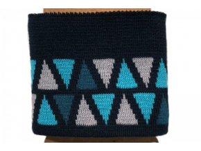 Náplet - kusový - trojúhelníčky na tmavě modré