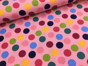 Úplet - velké puntíky - středně růžová