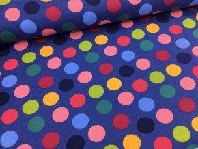 Úplet - velké puntíky - džínsově modrá