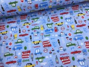 Bavlněný úplet (100% bavlna) - auta na modré