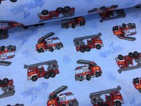 Bavlněný úplet (100% bavlna) - hasiči na modré