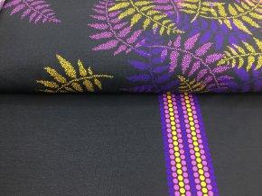 Teplákovina - kapradina - fialová na černé