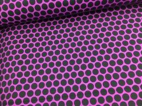Teplákovina - puntíky - fialové