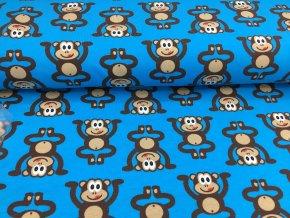 Úplet - opičky - modrá