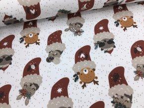 Teplákovina - vánoční - zvířátka v punčoše