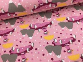 Teplákovina - holčičky s deštníkem na růžové - počesaná