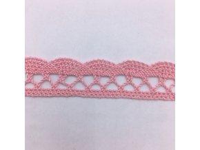 Bavlněná paličkovaná krajka - 18mm - světle růžová