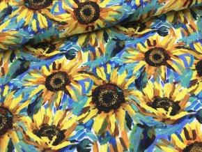 Teplákovina - slunečnice - doprodej 90cm